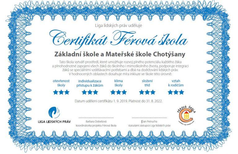 Férová škola – certifikát